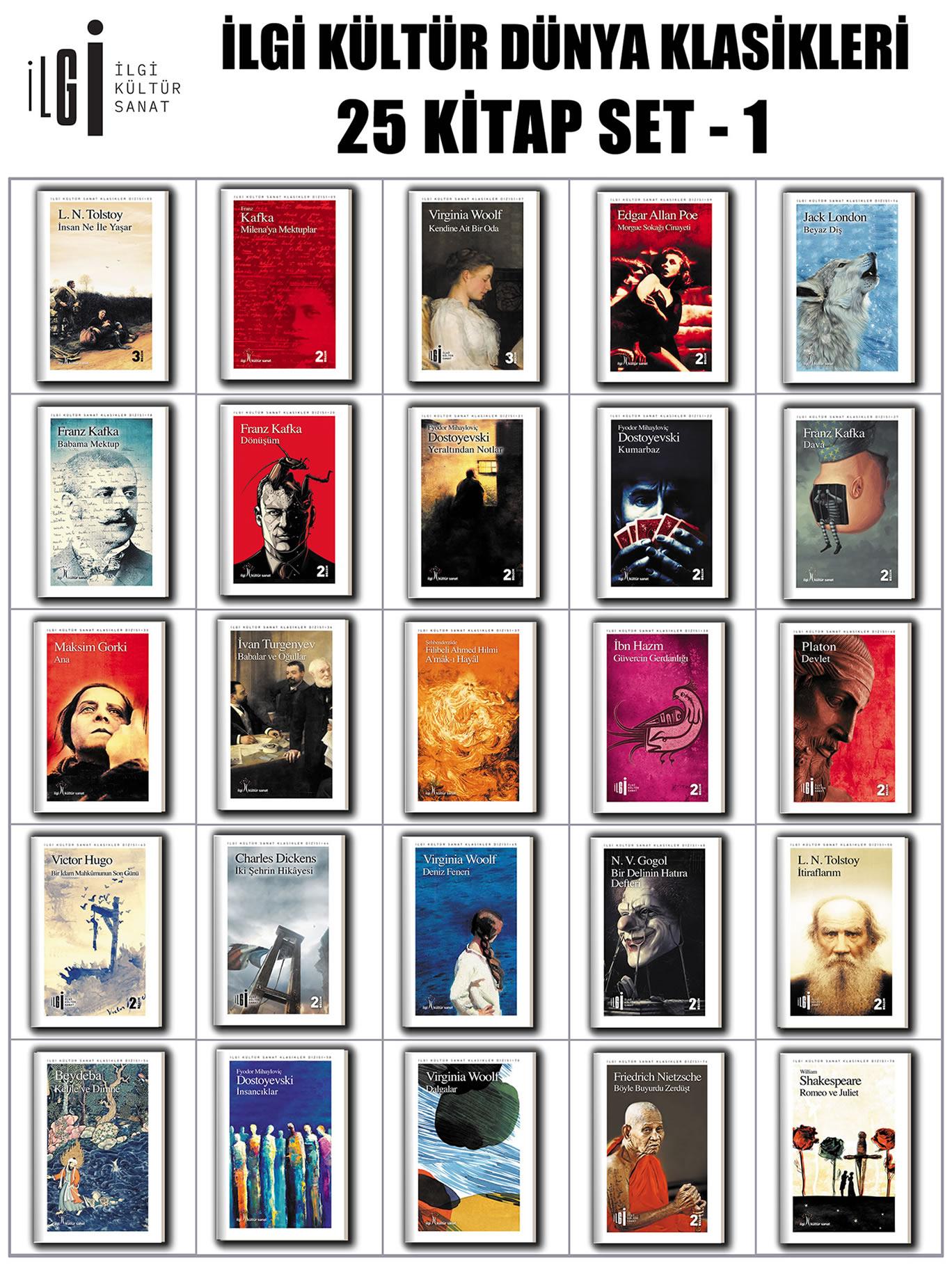 İlgi Kültür Dünya Klasikleri 25 Kitap Set - 1
